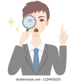 young man with magnifying glass flat style avatar