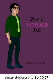 Young man with marks for poster design for World Vitiligo day. Illustation for print design with spotted vitiligo boy isolated on the bright background.