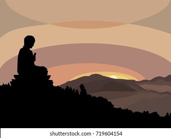 Young man meditating in lotus pose at sunset sitting on mountain peak.Healthy lifestyle and mindful meditation concept illustration vector.