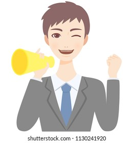 young man with megaphone flat style avatar