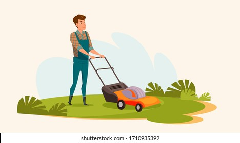 Young man mowing lawn flat vector illustration. Landscaping service worker, gardener cartoon character. Smiling guy in overalls working with lawnmower. Grass trimming, gardening, outdoor chores