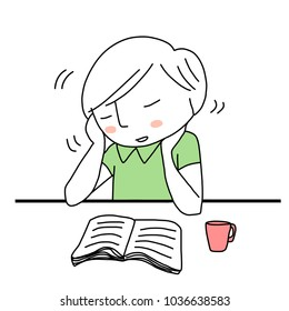 Young man with nodding head falling asleep during reading book. Drowsy male student resting his chin on hands, falling asleep at his desk behind text book and coffee mug. Hand-drawn style vector.