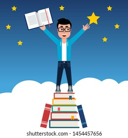 Young man on a stack of books reaching out for the star.Student's hopes and aspirations inspired by reading and education. Path to success,power of knowledge,reaching new heights,learn,reading. Vector