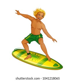 A young man on a surfboard. Holidays in the Hawaiian Islands. Vector illustration. Funny character in the cartoon style.