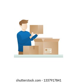 Young man open the package. Concept of unboxing of parcel. Excited men opening big cardbox. Video blogger concept, A man opens a package. Boy open the box in flat style. Characters vector illustration