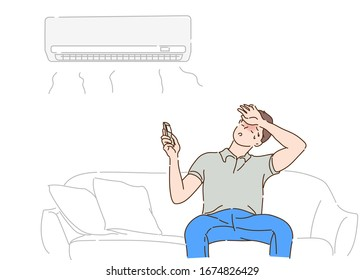 Young man operating air conditioner while sitting on sofa at home. Hand drawn in thin line style, vector illustrations.