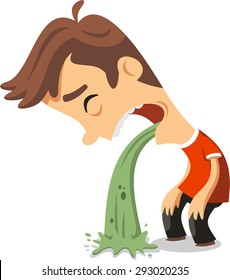 Young man in pain vomiting, vector illustration cartoon