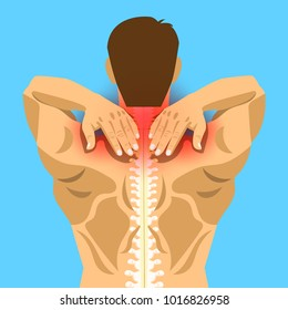 Young man with painful neck and shoulder, muscle injury, neck massage, cartoon flat-style vector illustration.