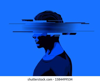 A young man with a partially obscure face. Mental wellbeing, mens issues, and rights concept.Vector illustration