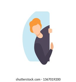Young man peeping from behind a wall vector Illustration on a white background
