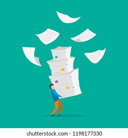 Young man with pile of documents. Information overload background. Vector illustration.