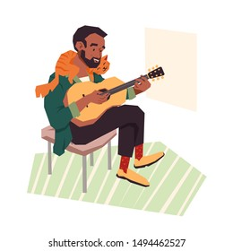 A young man playing the guitar while his cat laying on his shoulders. Happy pet and his owner lifestyle. Modern cartoon vector illustration.