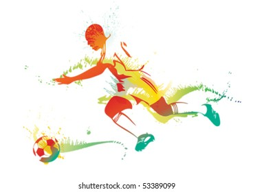 Young man playing soccer. Vector illustration.