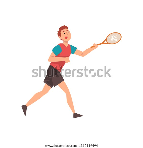 Young Man Playing Tennis, Professional Sportsman Character Wearing Sports Uniform with Racket in His Hand Vector Illustration
