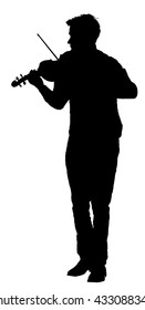 Young man playing violin vector silhouette isolated on white background. Classic music performer concert. Musician artist amusement public.  virtuoso on the violin. Boy plays the girl under the window