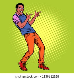 young man points fingers. African American people. Pop art retro vector illustration kitsch vintage drawing