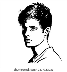 Young Man portrait. Black and white style. Lineart Vector. Illustration.