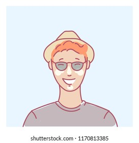 Young man portrait smiling happy tourist on Summer with sunscreen in hat and t-shirt avatar or vector userpic