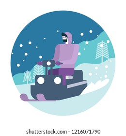 Young man posing on snowmobile. Winter activity. flat icon design. vector illustration