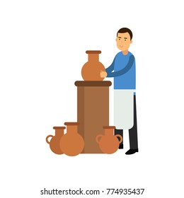 Young man potter in apron making ceramic pot. Smiling man artist. Craft hobby concept. Colorful flat vector character isolated on white.