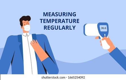 Young man in a protective medical mask measures the temperature with a remote thermometer. Poster asking you to check your temperature regularly. Corvirus control concept COVID-2019