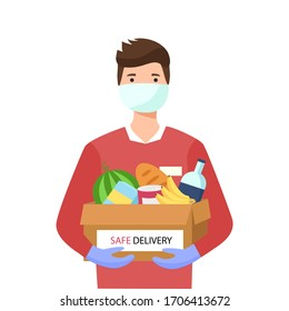 Young man in a protective medical mask and gloves keeps grocery box. Safe food delivery and courier service during a COVID-19 novel. Flat vector concept of Logistics isolated on white background.