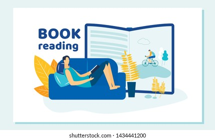 Young Man Reading Book Lying on Comfortable Sofa at Home. Human Imagination, Immersion to Fantasy World, Relaxed Hobby, Spare Time, Education, Vacation, Relax. Cartoon Flat Vector Illustration, Banner
