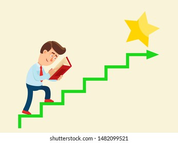 Young man reading textbook and go up to career ladder. Business training concept. Knowledge - way to success. Business vector illustration, flat design cartoon style. Isolated background. Side view.
