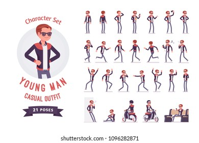 Young man ready-to-use character set. Caucasian millennial boy with gadgets wearing trendy leather jacket, skinny fit jeans, youth urban fashion. Full length, different views, gestures, emotions