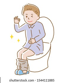 young man with regular bowel movement sitting on toilet seat.  Health care concept