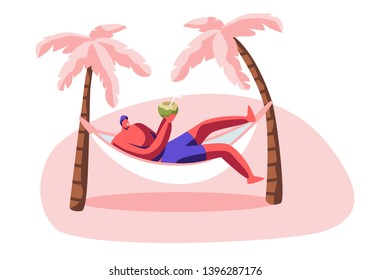 Young Man Relax in Hammock with Coconut in Hands. Summer Time Leisure on City Beach with Palms. Lounging Male Character Drinking Juice on Resort Seaside, Vacation Rest Cartoon Flat Vector Illustration