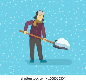Young man removing snow with a shovel. Flat vector illustration.