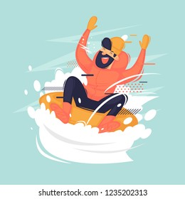Young man rides on a tubing in the snow. Winter. Flat vector illustration in cartoon style.