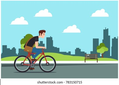 Young man rides a sports bike on a park road, Vector Illustration Bicycle man