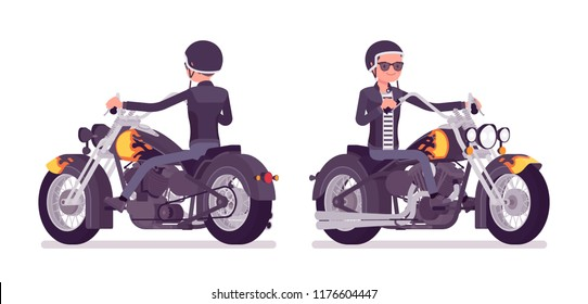 Young man riding a chopper. Millennial boy in a helmet on a big heavy motorcycle, dream vehicle for extrme sport, city enjoyment, speed and drive hobby. Vector flat style cartoon illustration