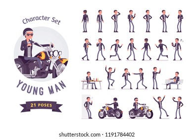 Young man riding a chopper ready-to-use character set. Cool rocker boy in a biker leather jacket with pompadour haircut, handsome guy. Full length, different views, gestures, emotions