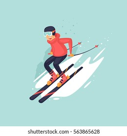 Young man riding on skis on snow, winter. Flat vector illustration in cartoon style.