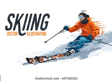 Young man riding on skis on white background, winter. Vector illustration in realistic style