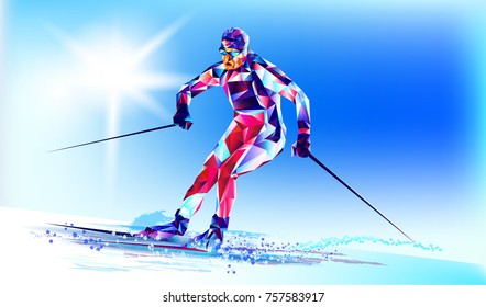 Young man riding on skis on white background, winter, Olympic. Vector illustration in triangular style. Vector illustration in a geometric triangle of XXIII style Winter Olympics games