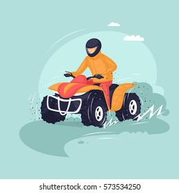 Young man riding a quad bike. Vector illustration of a flat design.