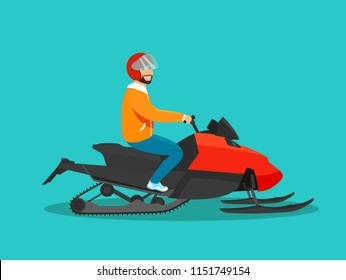 Young man riding Snowmobile isolated. Vector flat style illustration