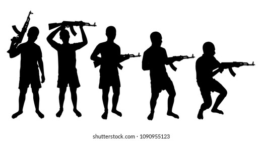 Young man with rifle gun in hand silhouette vector set