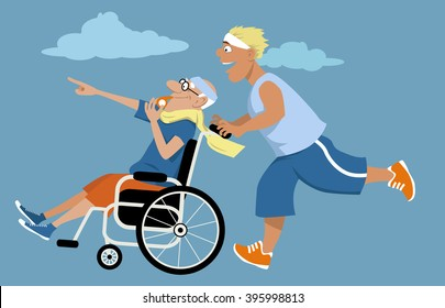 Young man running and pushing an elderly man in a wheelchair in front of himself, EPS 8 vector illustration, no transparencies