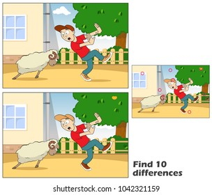 Young man runs away from a ram. Find 10 differences. Educational game for children. Cartoon vector illustration. Eps 10