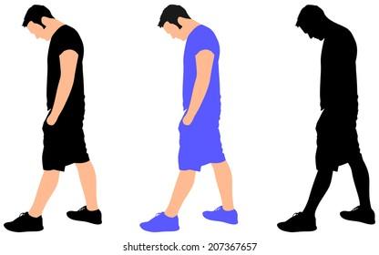 young man sad walking, vector