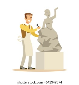Young man sculptor working on his sculpture. Craft hobby and profession colorful character vector Illustration