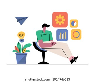 young man seated in chair with business icons vector illustration design