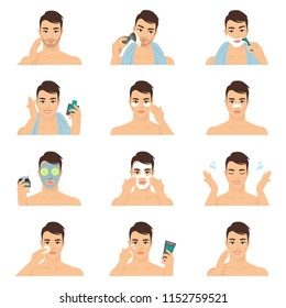 Young man shaving and care his face with various actions, facial, treatment, beauty, healthy, hygiene, lifestyle, man vector illustration set  isolated on white background.