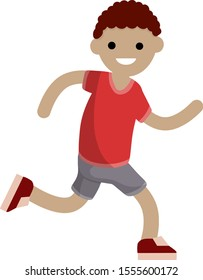 Young man in Shorts and a red t-shirt. Running and sports. Active lifestyle. Movement and walking. Cartoon flat illustration