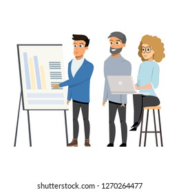 Young Man Shows Diagrams to Group of People at Meeting on Whiteboard or Flipchart paper. Startup Marketing Agency Brainstorm Concept. Cartoon Vector Illustration Flat